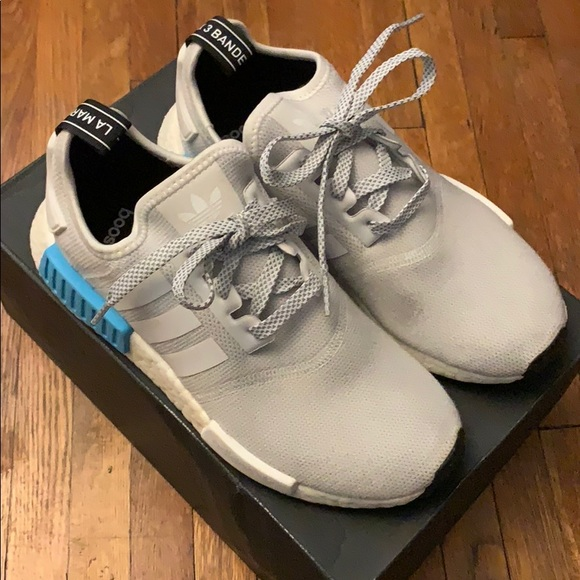 Adidas Shoes Nmd R1 Size 6 Youth 8 Womens Grey White Poshmark